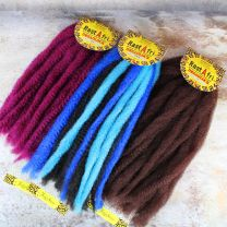 22 inch folded lengths of Rastafri Dreadlock Foundation Fiber in Fuchsia, dark auburn, and blue and black