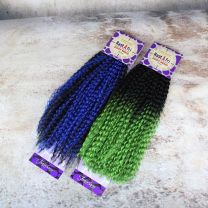 18 inch Rastafri Ziggy Braid made of Kanekalon and Toyokalon fiber in blue and black to green ombre