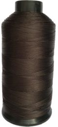 Close up of dark brown spool Dollylocks Super Nylon Thread