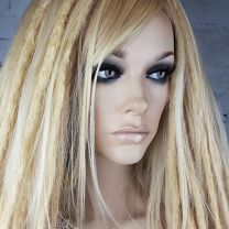 Model with loose natural hair and blonde human hair dreadlock clip set