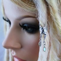Sterling Silver Fairy and Labradorite Dread Cuff on model with blonde dreadlocks