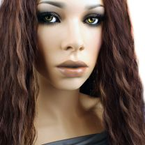 Close up of model with Bohyme French Refined wefted extensions in color 4/30 Chocolate and Sahara Auburn mix