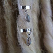 Close up of 10mm Sterling Silver Labradorite stone Dreadlock Cuffs