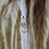 Single silver metal lotus charm dreadlock cuff on blonde dread