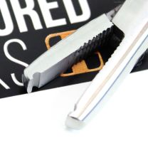 Close up of stainless steel nano microbead opener tool mouth