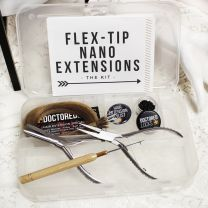Flex Tip Nano Extensions Kit with tools, nano beads, hair extension stylist button, business card, and practice nano hair extensions