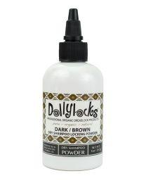 1oz net weight bottle Dollylocks Organic Dry Shampoo and Locking Powder in Dark for brown or dark hair