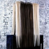 Dark brown and platinum blonde tape hair organized on professional hair extension stand