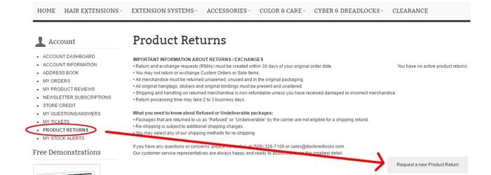 Product Return Area